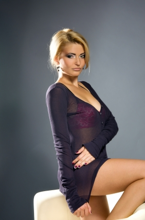 portrait of a sensual blonde with sexual Professional make-up   photo