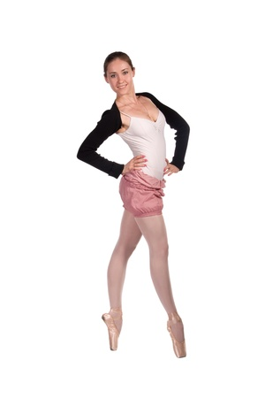 ballet dancer in tracksuit is isolated on white background photo