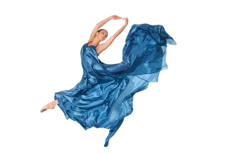 ballet dancer in flying satin dress isolated on white background Stock Photo - 15040568