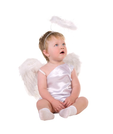 Christmas angel, a small child isolated on white background Stock Photo - 16055700