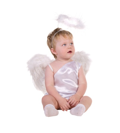 Christmas angel, a small child isolated on white background photo