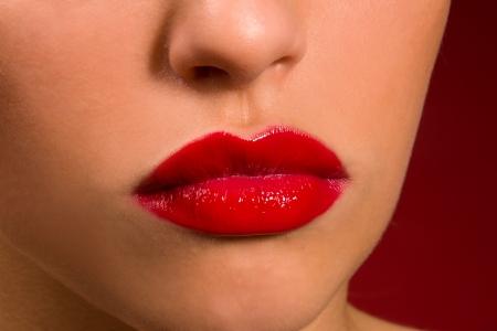 sensual lips: sexy sensual lips with red lipstick close-up