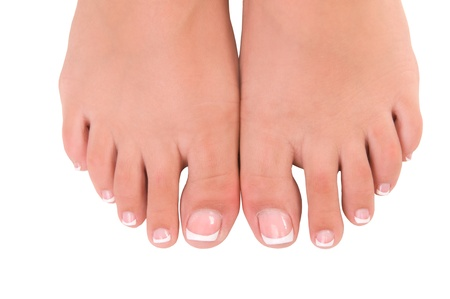 nail care for womens feet, on white background photo
