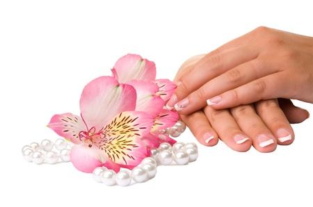 Nagelpflege für Frauen die Hände, isoliert auf weißem Hintergrund Standard-Bild
