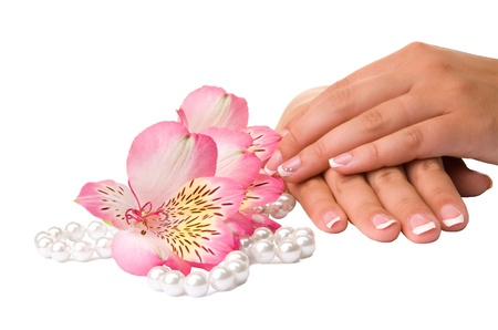 french pedicure: nail care for womens hands, isolated on white background Stock Photo