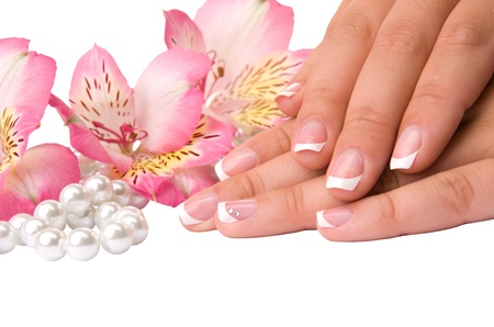 manicure nails: nail care for womens hands, isolated on white background Stock Photo