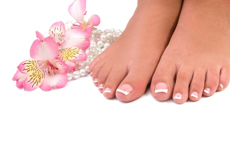 french woman: nail care for womens feet, on white background