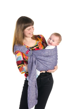 young mother with baby in sling isolated on white background