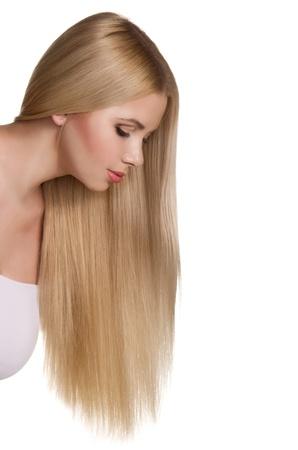 studio portrait of beautiful blonde girl isolated on white background photo