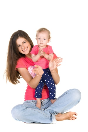 mother and daughter in hands applauding isolated on white background Stock Photo