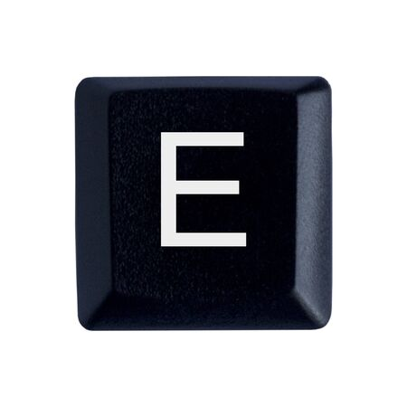 The Letter E From a Black Keyboard Stockfoto