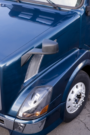 Fragment of side of dark blue semi truck  from top view Stock Photo - 25247036