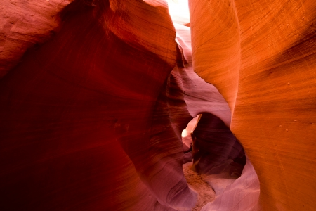 Labyrinth sandy Antelope Canyon in bright colors fiery palette
