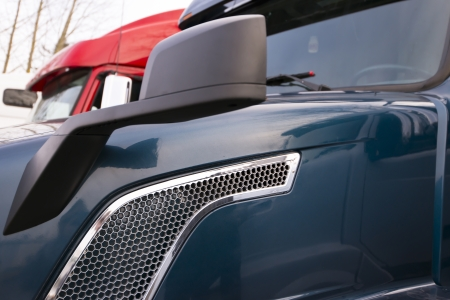 Close view of dark big modern rig with mirror and grille Stock Photo