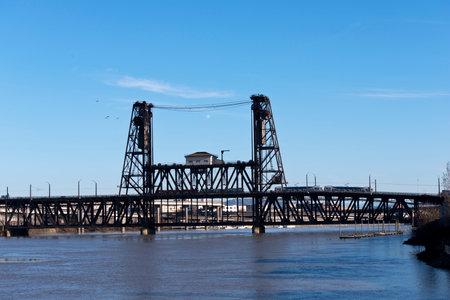 drawbridge: Drawbridge in black color metal with the two towers across the Willamette Portland Oregon Editorial