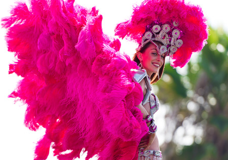 participant: A participant in the Brazilian festival festival dress with multicolored feathers, blown by the wind, and jewelry