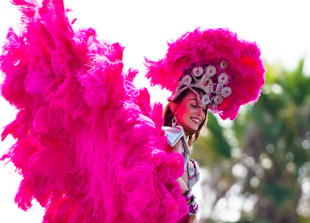 participant: A participant in the Brazilian festival festival dress with multicolored feathers, blown by the wind, and the decorations on the background of green trees Editorial