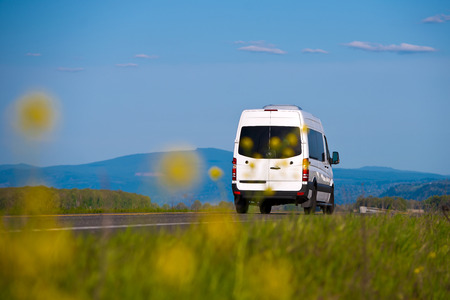 Cargo and passenger white van on the road of fuzzy yellow flowers and grass in front and trees, mountains and sky behind