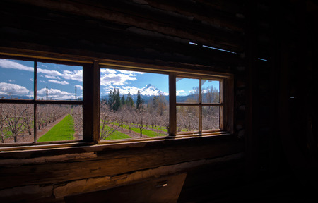 without window: Spring landscape with trees, grass, power line, mountain, snow and sky with clouds over old wooden window without glass