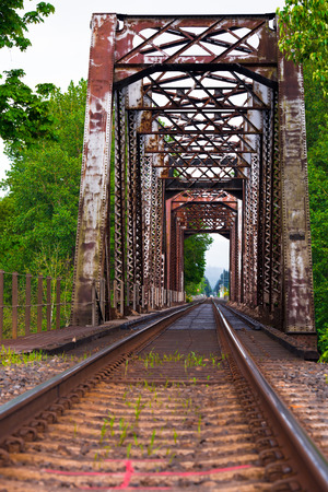 Railway route with the rail and sleepers passing through the old metal bridge with truss bridge, leaving in perspective against the background of green leafy trees and bright sky