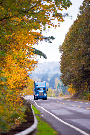 semi dress: Large classic blue semi truck with trailer climbing downhill on a beautiful highway with multiband movement with a metal security fence and road markings in a beautiful dress autumn yellow trees on both sides of the road. Stock Photo