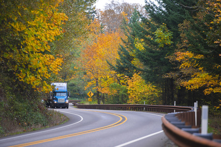 dividing lines: Large blue robust classic semi truck carrying goods in the indoor dry var cargo trailer moves on a winding multi-band highway with dividing lines marking and metal fencing belt on wall background green and yellow trees.