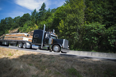 Black stylish semi truck with chrome accessories individual design transports the wood bars on the flat bed trailer moving on the beautiful green highway. Stylish Monster King of Road of Wild West.