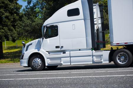 profile: Profile of rapid modern powerful semi truck