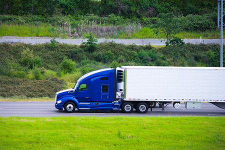 semitruck: Profile of rapid road beast in the form of modern powerful truck