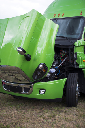 freightliner: Huge professional bright shiny clean green big rig semi truck with an open hood to check the performance of the diesel engine of this royal transport highways of America before leaving for the flight.
