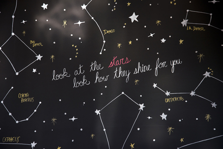 lineas horizontales: Large black stand with painted stars in the constellation drawn up with their names and the inscription with a wish: Look at stars how they shine for you.