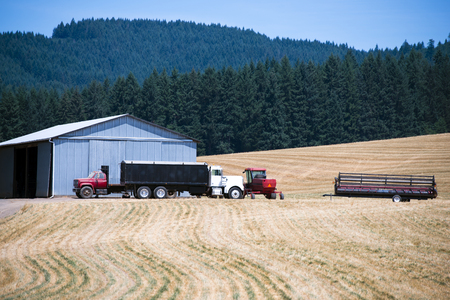 neighboring: Several private small trucks and other agricultural equipment near a large barn on a field of cut grass on a background of evergreen trees growing on neighboring hills. Stock Photo