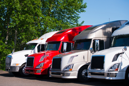 Different models of powerful professional semi trucks for modal transport commercial goods, stand in a row on a truck stop parking lot in anticipation of the continuation of the working traffic schedule surrounded by green trees. Stockfoto