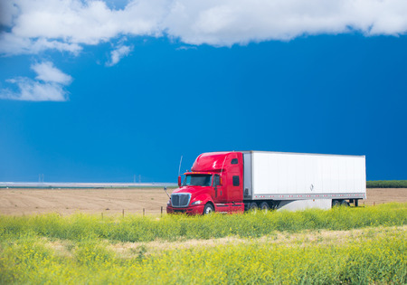 Modern red big rig semi truck with a trailer with cargo moving on the road passing by the front sloping fields and fresh spring wildflowers Archivio Fotografico