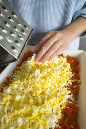 supple: Worn on a grater ingredients boiled eggs and carrots for cooking delicious original salad by layering one product to another and laid out in a large rectangular dish. Lovely food sample homemade recipes.