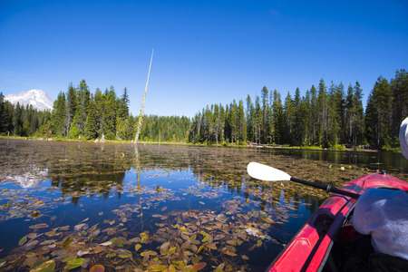Amazingly beautiful landscape with floating red kayak on yellowed overgrown water lilies Trillium Lake framed by evergreen fir trees, behind which hid the snowy Mount Hood. And all this beauty of wild nature is reflected in the quiet water surface of the  Stock Photo