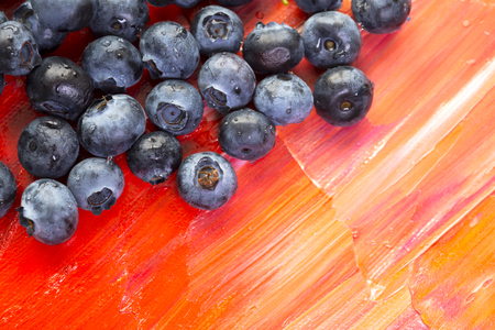 savour: Berries of blueberries are appetizingly scattered on the red canvas inviting to join the magnificent taste and healing benefits of these amazing nutritious berries that can improve health, normalize the metabolism, satiate the hungry