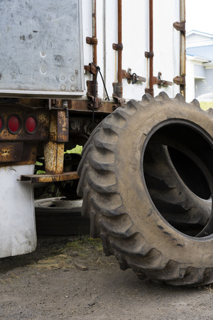 The tires, rims or other parts of big rig semi trucks are given great importance since trucks are the main means of transporting goods. But all parts or engine becomes in time unfit for use Stockfoto