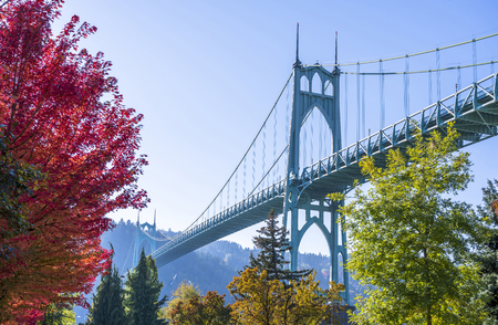 The famous St Johns bridge in the gothic style across the Willamette River in Portland industrial area with two arched support pillars surrounded by autumn colorful trees growing in the lower park