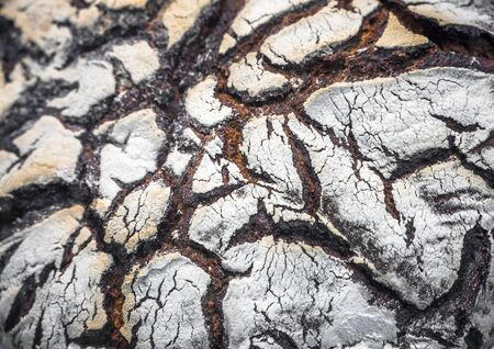 Natural organic tasty and healthy bread made of dark rye flour with cracked crispy crust after baking in the oven with a fantastic pattern resembling a cosmic landscape, ready to eat