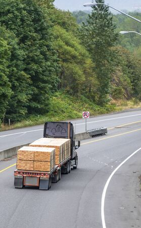 Big rig powerful professional industrial black bonnet semi truck for long haul delivery going with lumber wood fastened on flat bed semi trailer on the turning road with green trees on the sides