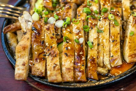 Dietary lean strips of baked chicken breast in teriyaki sauce and sprinkled with green onions and seasoned with spices laid out on a dish and ready for use by lovers of tasty and wholesome food Stock Photo - 133827895