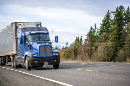 Big rig blue classic powerful diesel long haul semi truck transporting frozen commercial cargo in corrugated refrigerated semi trailer running on the road with green trees forest on the road side
