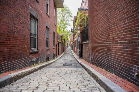 The street of a multistory red brick apartment buildings in Boston twined with green trees creates the effect of combining nature and the city into a single eco system Stock Photo