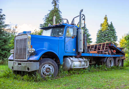 Blue rusty big rig old retro vintage semi truck with flat bed trailer standing on the wide open meadow with high green grass as a symbol of a hard busy past life and the place of the last refuge