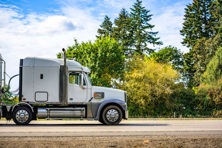 White classic big rig industrial professional semi truck with vertical pipes and horns on the roof transporting cargo in covered bulk semi trailer running on the flat highway road with green trees Stock fotó