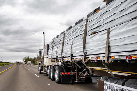 Dark classic American idol big rig industrial semi trucks tractor with chrome vertical pipes transporting covered lumber wood on flat bed semi trailer running on the straight wide highway road 版權商用圖片