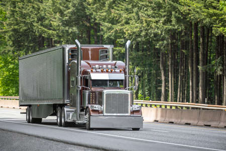 Brown big rig semi truck tractor with vertical chrome pipes transporting cargo in polished corrugated aluminum refrigerator semi trailer running on the green forest highway road in Columbia Gorge 版權商用圖片