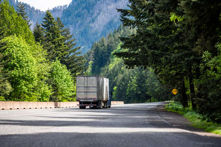 Blue big rig semi truck tractor with chrome accessories transporting cargo in refrigerator semi trailer with reefer unit on the front wall running on the green forest highway road in Columbia Gorge 版權商用圖片