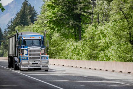 Blue classic big rig long haul industrial semi truck tractor transporting cargo in covered low profile bulk semi trailer running on curving highway road with green mountain forest in Columbia Gorge 版權商用圖片